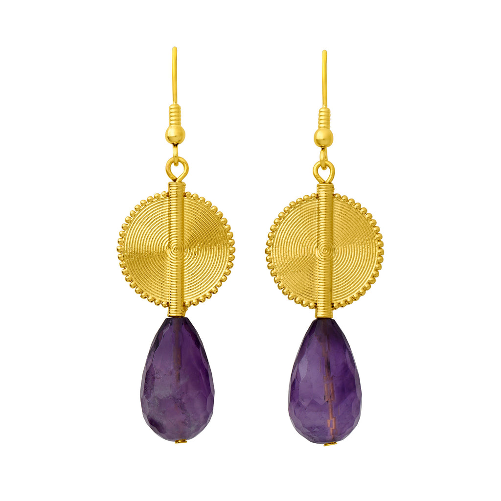 Aflé Bijoux Akan Gemstones Drops Earrings - Small Amethyst - AFLE BIJOUX