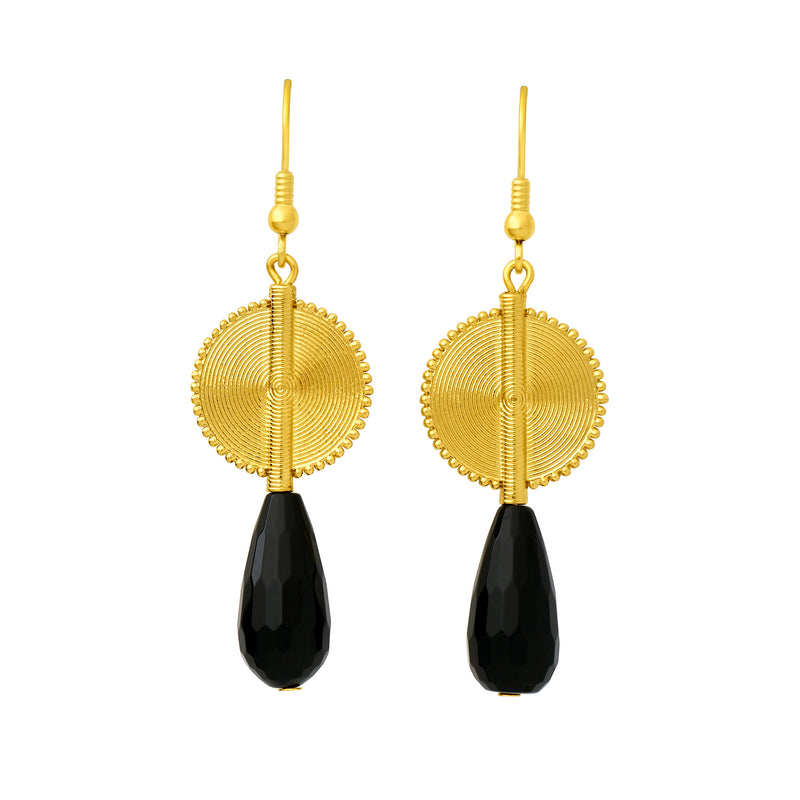 Aflé Bijoux Akan Gemstones Drops Earrings - Small Black Onyx - AFLE BIJOUX