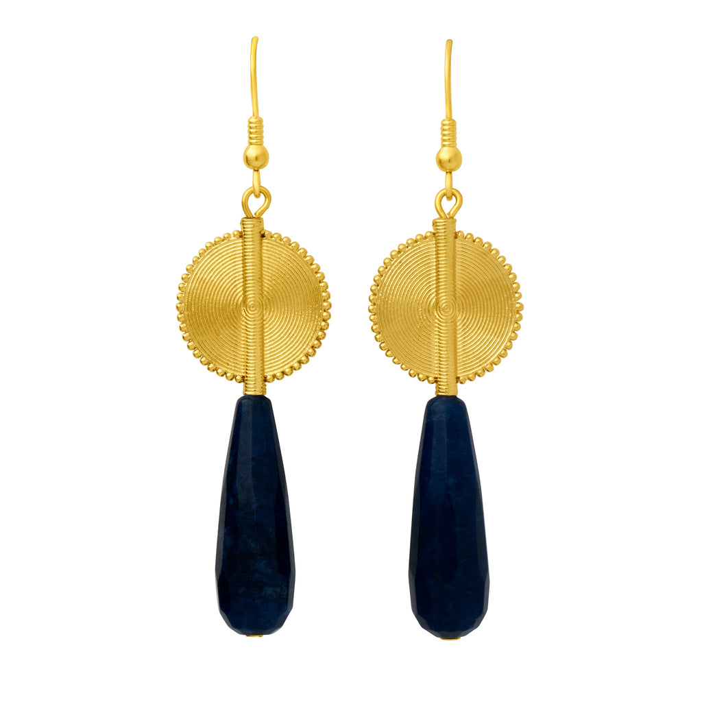 Aflé Bijoux Akan Gemstones Drops Earrings - Dumortierite - AFLE BIJOUX