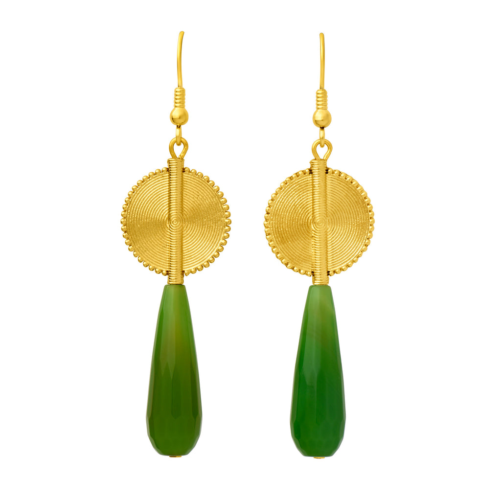 Aflé Bijoux Akan Gemstones Drops Earrings - Green Agate - AFLE BIJOUX