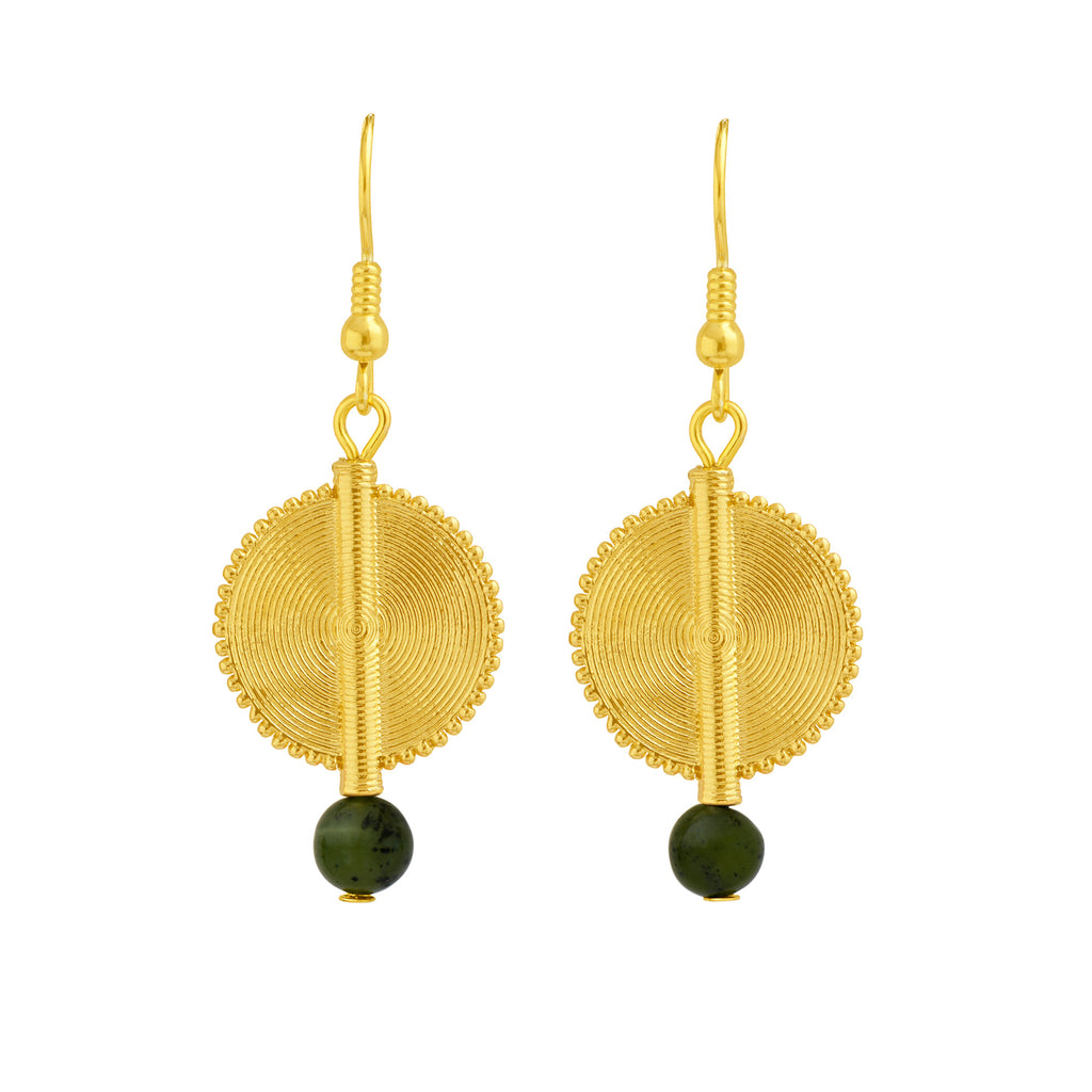 Aflé Bijoux Akan Gemstones Earrings - Green Serpentine - AFLE BIJOUX