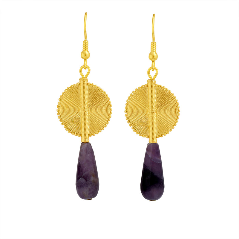 Aflé Bijoux Akan Gemstones Drops Earrings - Striped Amethyst - AFLE BIJOUX