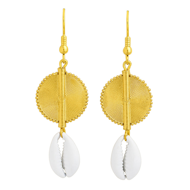 Aflé Bijoux Akan Cowrie Earrings - White - AFLE BIJOUX
