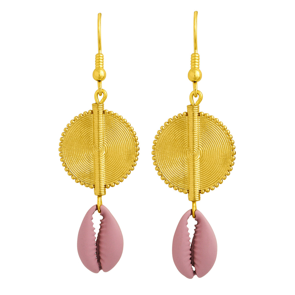 Aflé Bijoux Akan Cowrie Earrings - Rosa - AFLE BIJOUX