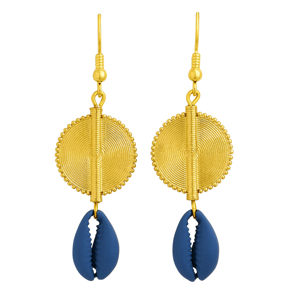 Aflé Bijoux Akan Cowrie Earrings - Blue - AFLE BIJOUX