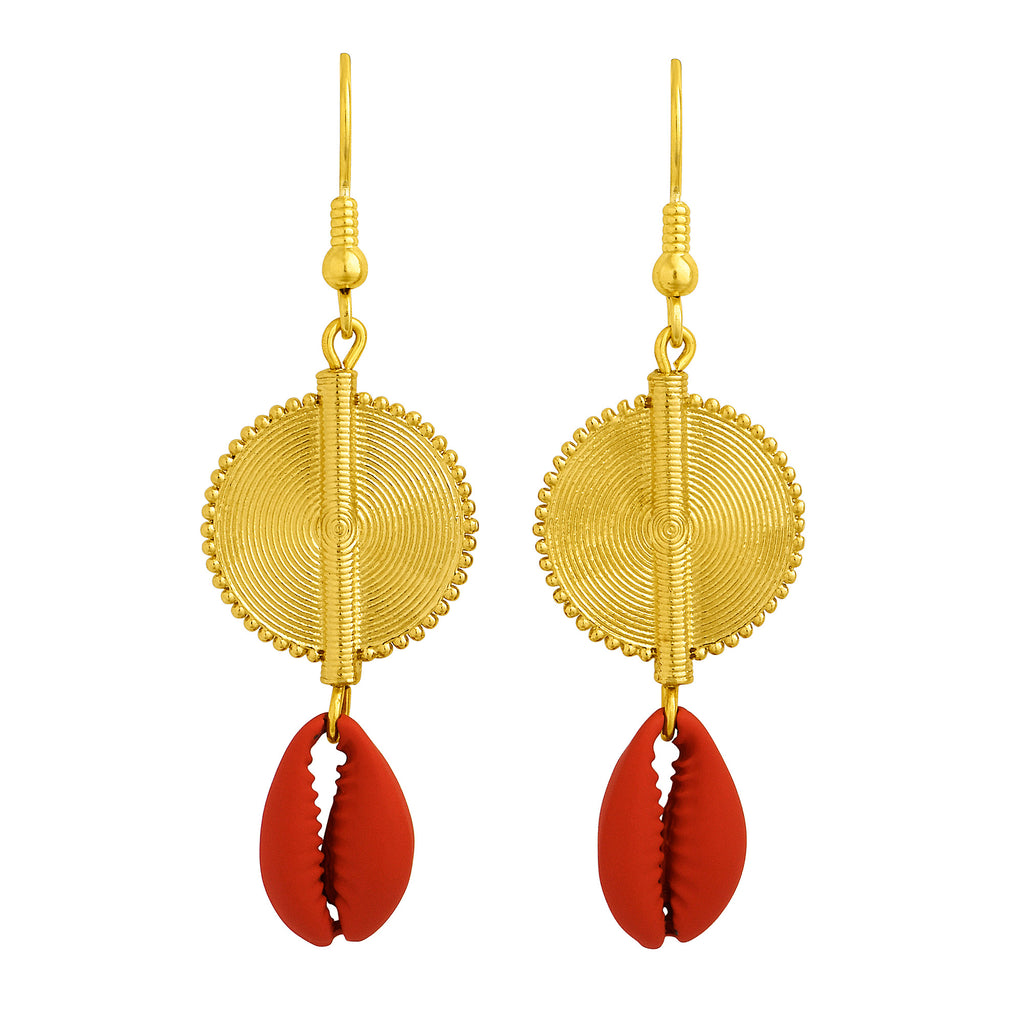 Aflé Bijoux Akan Cowrie Earrings - Red - AFLE BIJOUX