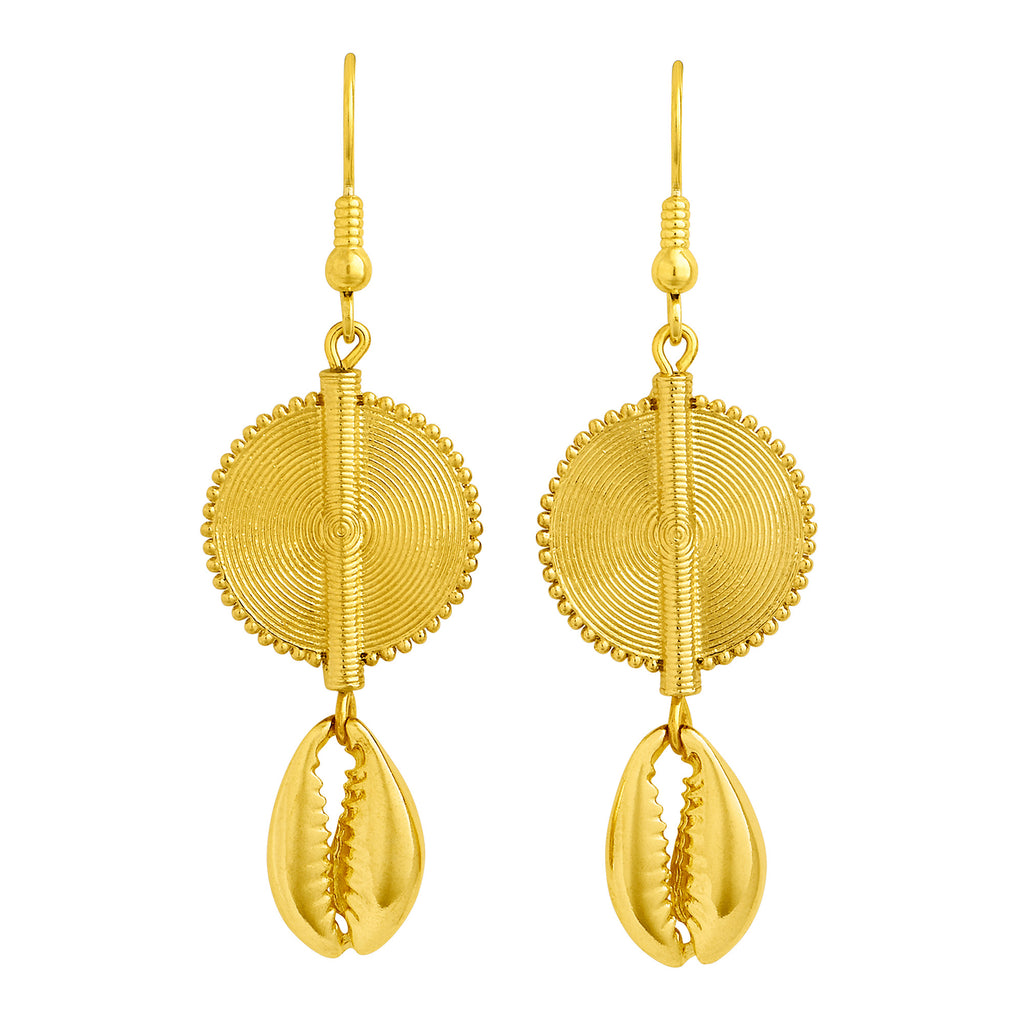 Aflé Bijoux Akan Cowrie Earrings - Gold - AFLE BIJOUX