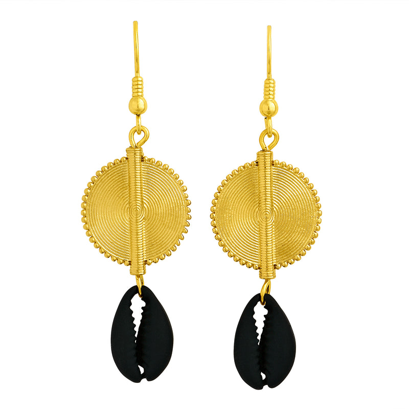 Aflé Bijoux Akan Cowrie Earrings - Black - AFLE BIJOUX