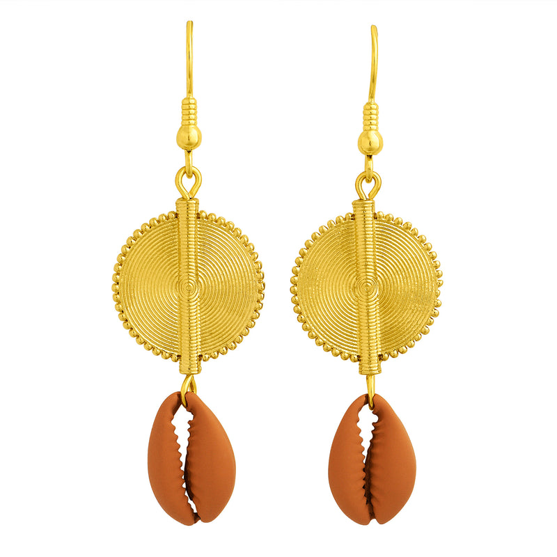 Aflé Bijoux Akan Cowrie Earrings - Terra - AFLE BIJOUX