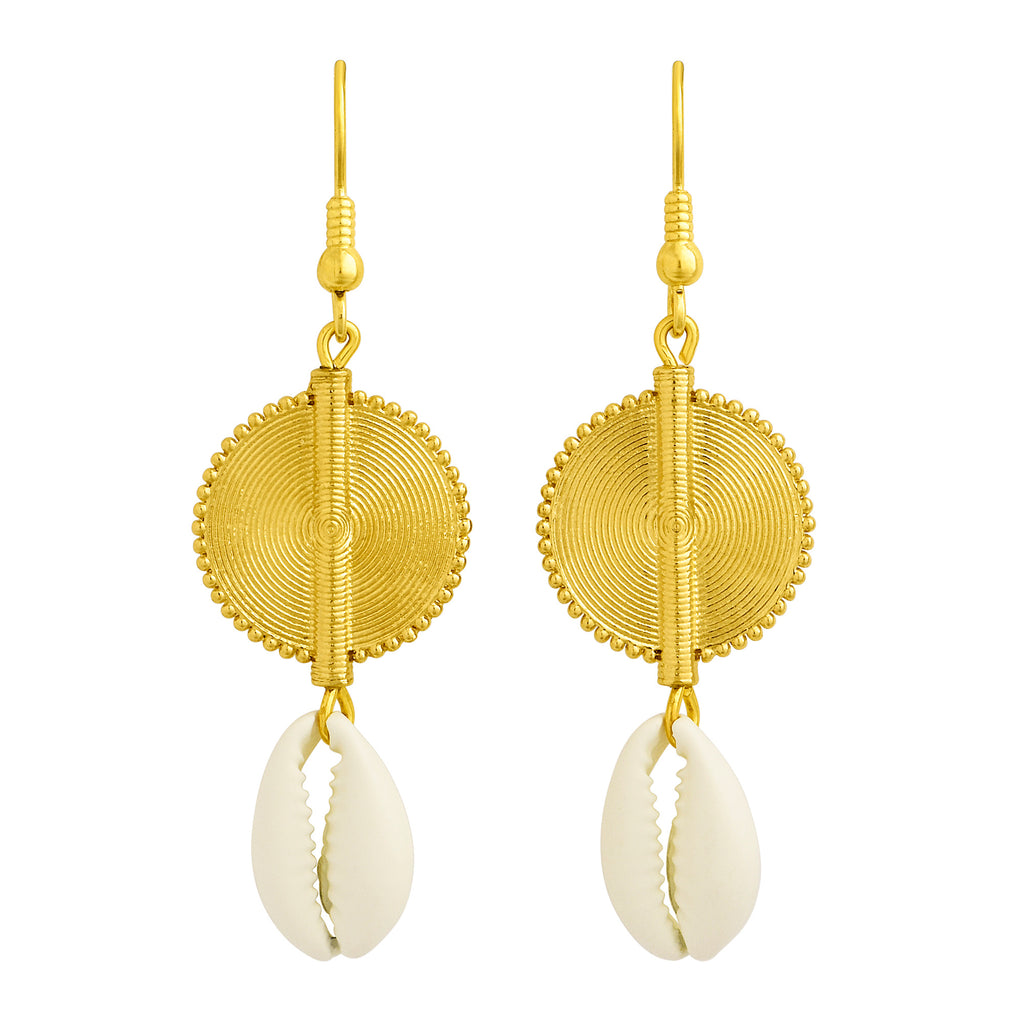Aflé Bijoux Akan Cowrie Earrings - Ivory - AFLE BIJOUX