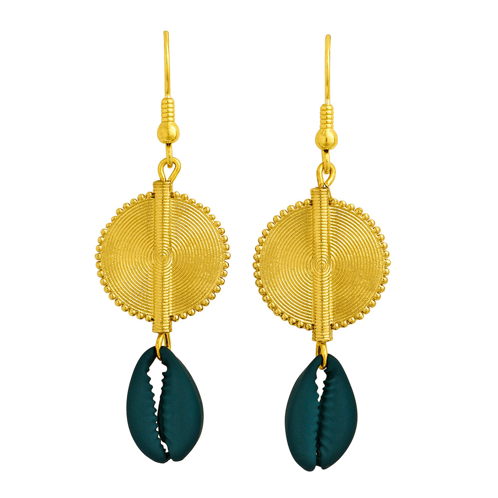 Aflé Bijoux Akan Cowrie Earrings - Teal - AFLE BIJOUX
