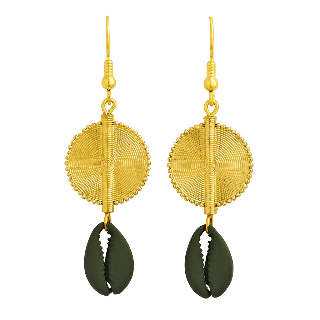Aflé Bijoux Akan Cowrie Earrings - Green Moss - AFLE BIJOUX