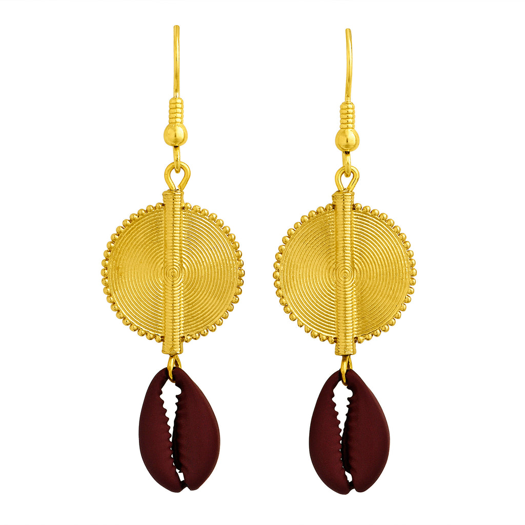 Aflé Bijoux Akan Cowrie Earrings - Burgundy - AFLE BIJOUX