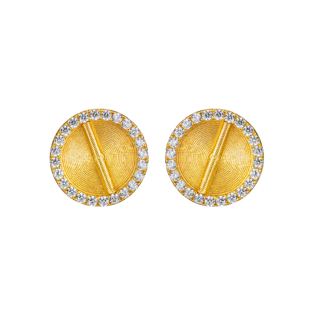 Sparkle Akan Studs Earrings Large - AFLE BIJOUX