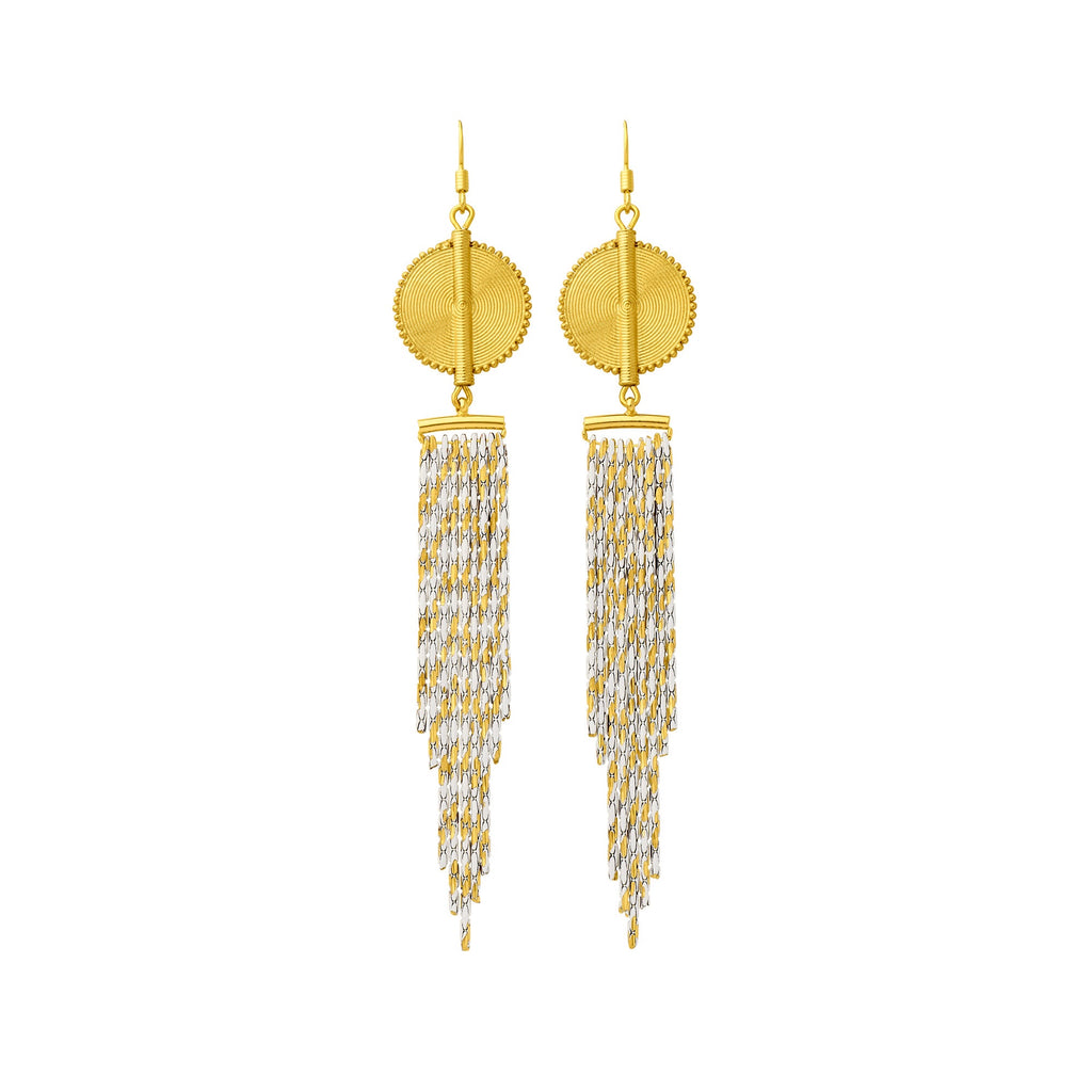 Aflé Bijoux Akan Cascading Chain Earrings - Gold White - AFLE BIJOUX