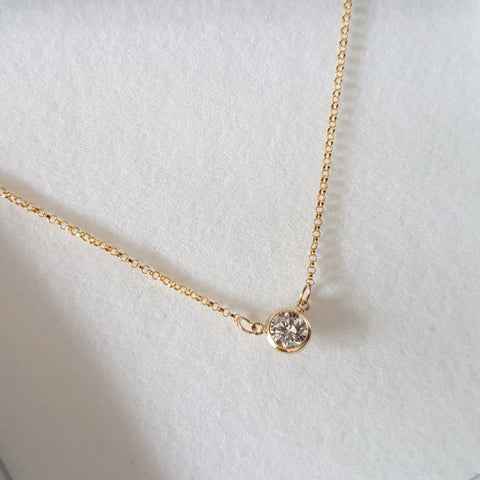 14KT GOLD & SWAROVSKI  'MOON' NECKLACE