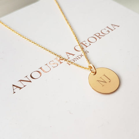 14KT GOLD ENGRAVEABLE 'GRANDE' PENDANT NECKLACE