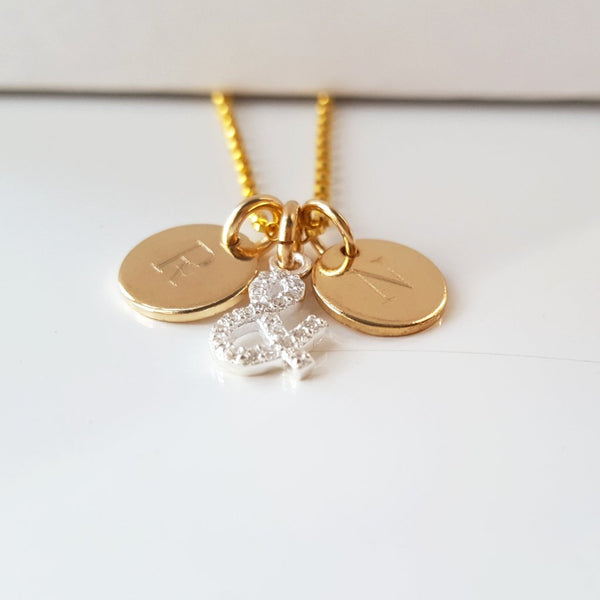 *NEW* 14KT GOLD 'PETIT' TAG & CZ 'FAIRYDUST 'ME & YOU' NECKLACE
