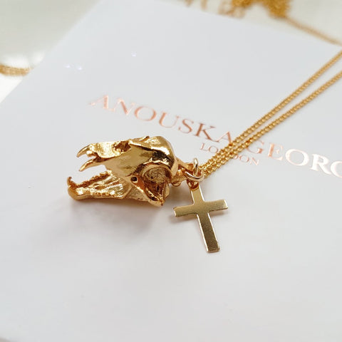14KT GOLD 'TIGER' SKULL & CROSS NECKLACE