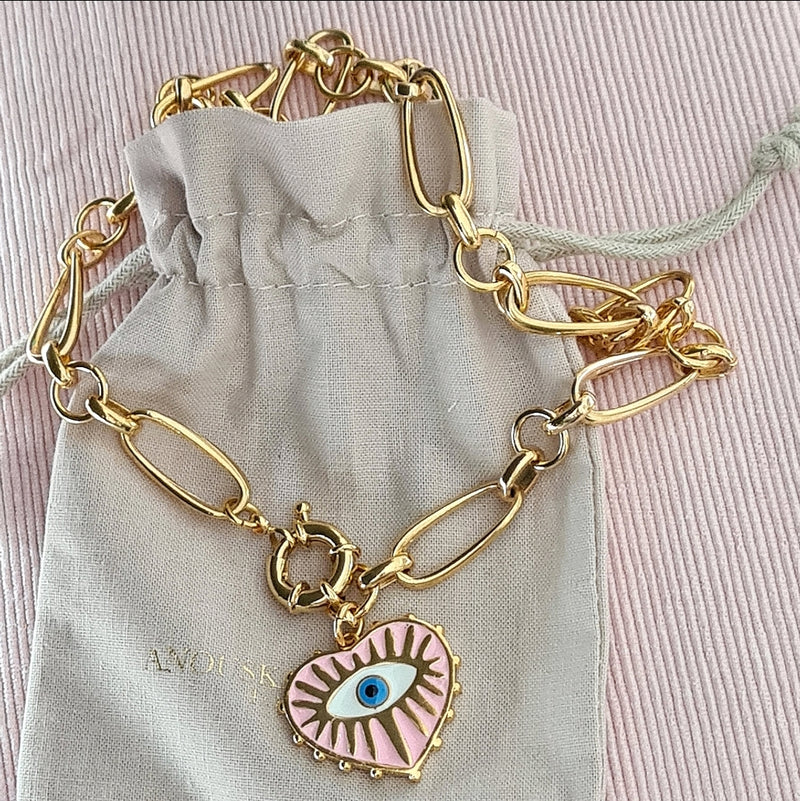 LUXE 'CANDY PINK EYE' COCKTAIL NECKLACE