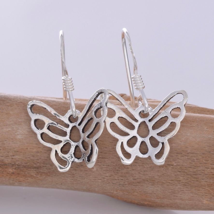 E629 - Silver butterfly earrings