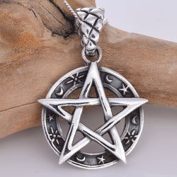 P733 - Silver pentagram with moon & star border