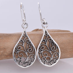 E634 - Silver filigree teardrop earrings