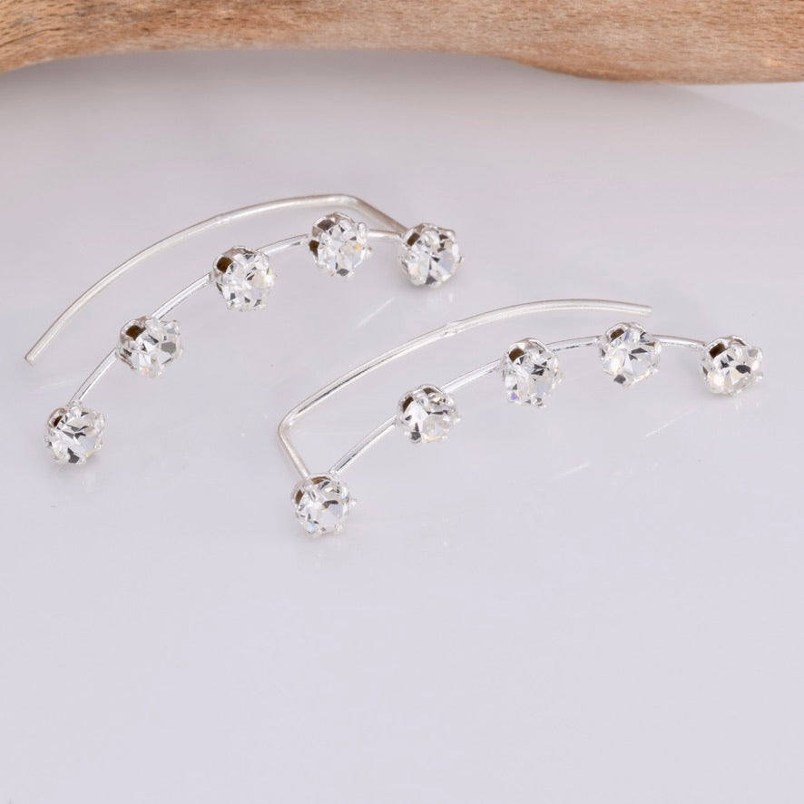 E635 - Silver and five stone climber earring
