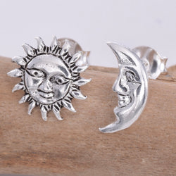 S612 - Silver Sun & Moon stud earrings