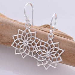 E603 - Silver lily outline drop earrings