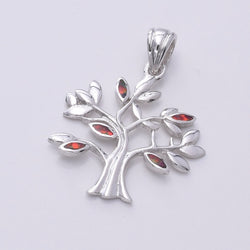 "P608 - Tree design silver pendant with ""Fire Opal"""