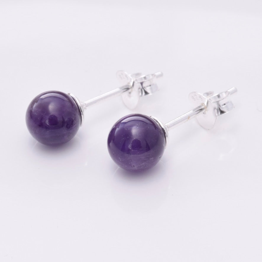S640 - Silver & amethyst ball stud earrings