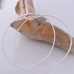 E627 - 50mm silver braided look hoops