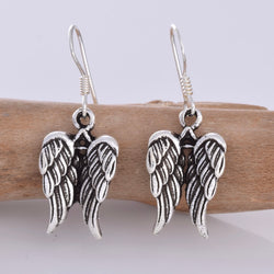 E623 - Silver angel wings drop earrings
