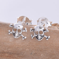 S598 - Silver Skull & crossbones stud earrings