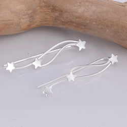 E636 - Silver Shooting star climber earrings