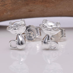 S636 - Silver Cat with glasses stud earrings