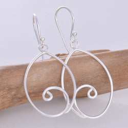 E624 - Silver wire oval drop earrings