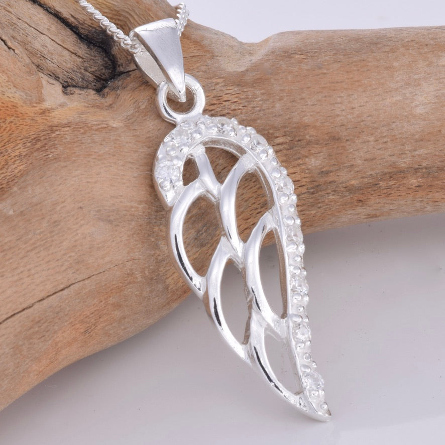 P734- Angel wing with CZ stones