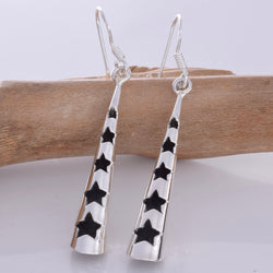 E626 - Cone silver earrings with star cut outs