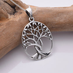 P786 - 925 Silver large oval tree of life pendant