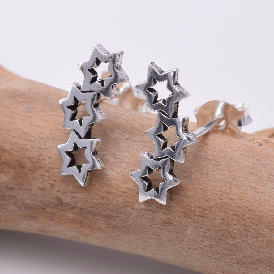 S629 - Silver star constellation stud earrings