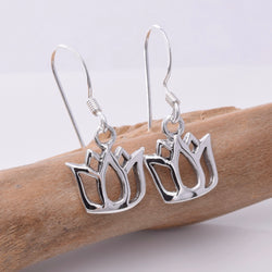 E640 - Silver lotus flower earrings