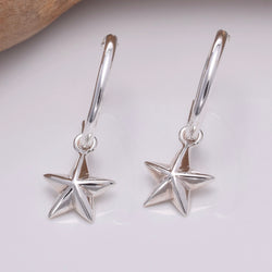 E646 - Silver hoop and star earrings
