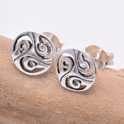 S163 - Celtic shield silver stud earrings