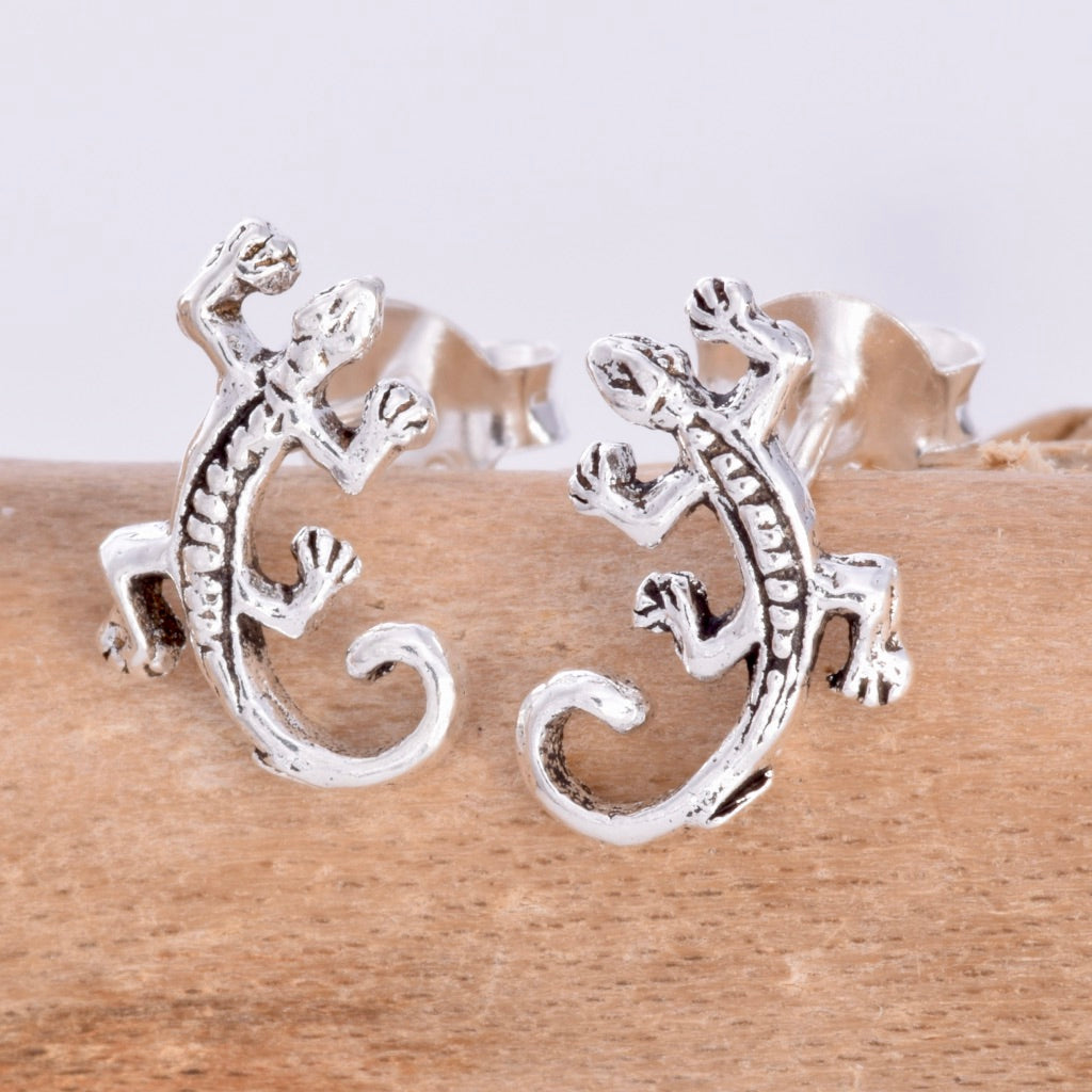 S095 - Silver Gecko stud earrings