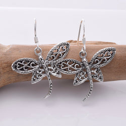E673 - 925 silver filigree dragonfly earrings