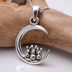 P814 - 925 Silver Crescent with three hares