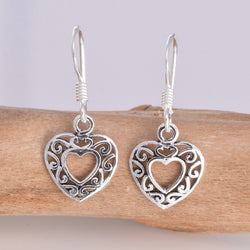 E294 - Silver Filligree Heart Earrings