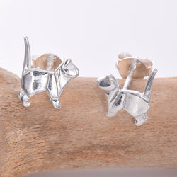 S616 -  Sterling silver standing cat stud earrings